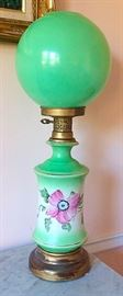 Vintage Hand Painted Hurricane / Gone With The Wind Lamp