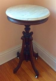 Antique Victorian Marble Top Plant / Clock Stand Pedestal Table with Ceramic Casters