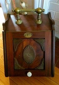 Antique Coal / Ash Scuttle Box Wood & Brass by Perry & Son Co.