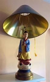 Large Oriental Figural Lamp, Male