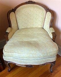Antique Queen Anne Down Armchair