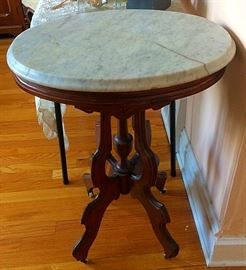 Oval Marble Top Lamp / Clock / Plant Stand with Casters