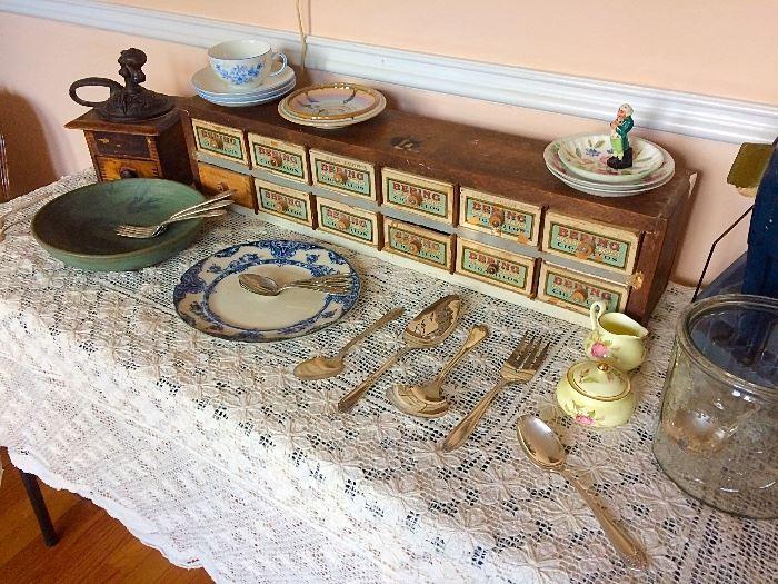 Vintage Coffee Grinder, Hardware Box, Hand Carved Figure, Glass Cigar Advertising Jar, & More