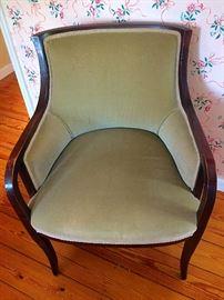 Vintage Mid C Olive Green Velvet Armchair