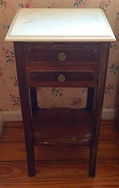 Antique French Country Marble Top Occasional Table / Night Stand