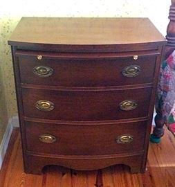 Vintage Lammerts Bow Front Night Stand with Pull Out
