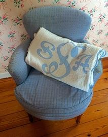 Lovely Vintage Armchair & Monogrammed Quilt