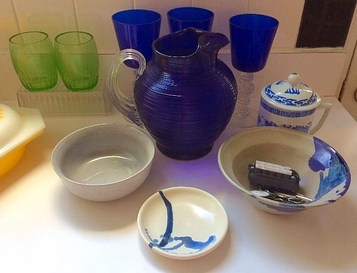 Cobalt Glass, Pottery