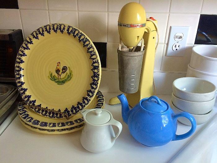 Vintage Mixer, Teapot, Creamer & Plates