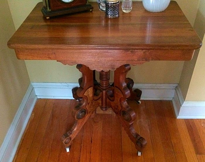 Antique Victorian Maple Occasional / Side Table on Casters