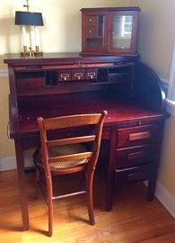 Vintage Cherry Roll Top Desk, Antique Humidor / Pipe Cabinet, Vintage Lamp