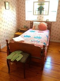 Semi-Antique Twin Bed, Antique Ottoman, Mid C Tiered End Table