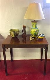 Semi-Antique Occasional Table, Vintage Chinoisera Lamp, Roseville Vase, Native American Pot, Vintage Pottery