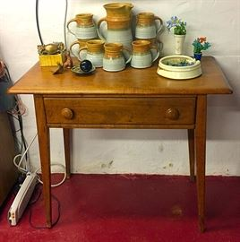 Antique Primitive Occasional Table, Pottery & More