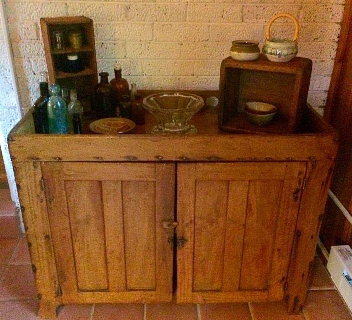 Vintage Primitive Dry Sink Cabinet, Vintage & Antique Bottles, Primitive Crates