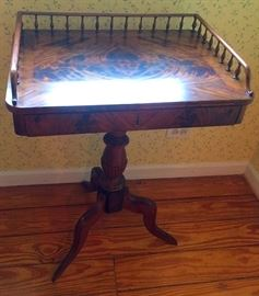 Antique Tigerwood Gallery Accent Table with Drawer