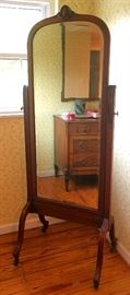 Antique Full Length Mirror on Casters