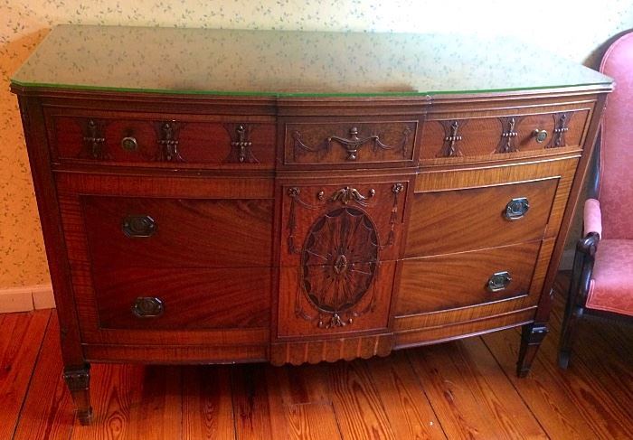 Antique Carved & Inlaid Bow Front Chest