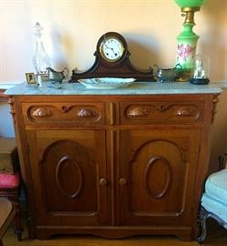 Gorgeous Antique Victorian Walnut Chest with Marble Top