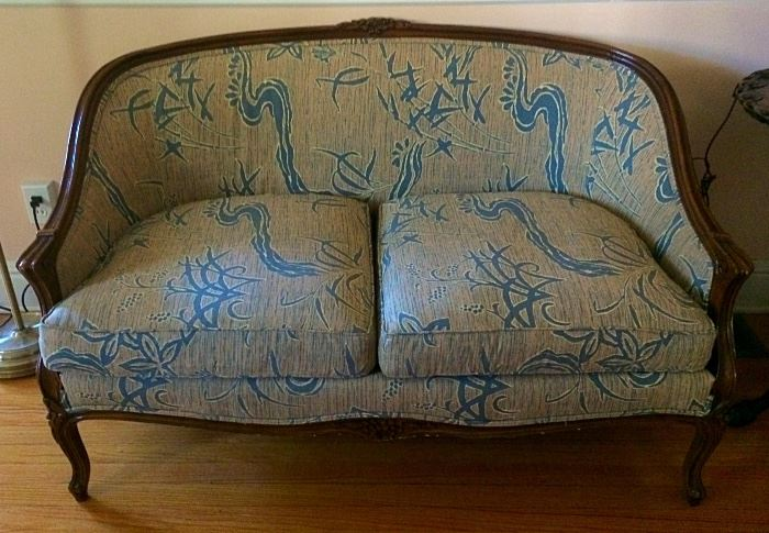 Lovely Antique Settee with Vintage Oriental Style Upholstery