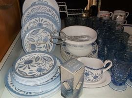 Correle dinnerware and blue White Hall glassware
