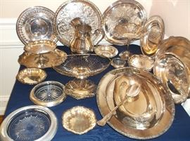 Silver plate trays, bowls, compotes, and pitcher