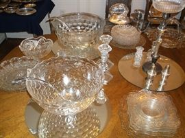 Two punch bowls and pressed glass