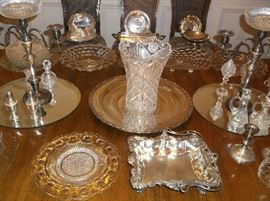 Silver plate and cut glass