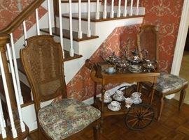 Tea cart w/silver plate tea service