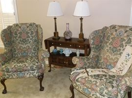 Pair of wing back chairs