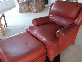 Thomasville Furniture, red leather club chair and ottoman