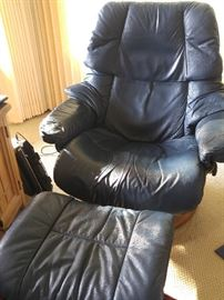 TWO StressLess leather lounge chairs and footrests!
