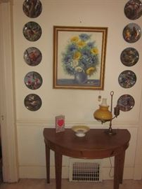 Bird plates, half moon table, original oil painting