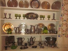 Pewter, green glassware