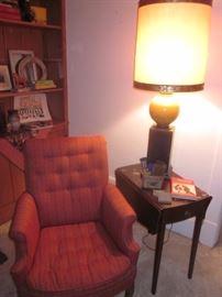 Arm chair, vintage lamp