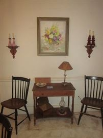 Table, Original Oil Painting, Hitchcock chairs