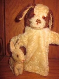 Steiff bunny, Steiff dog puppet?