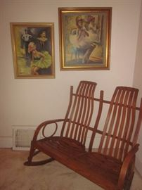 Bent wood chair, great condition. Original Oil Paintings