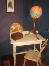 desk, globe, horse etching