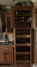 Another photo of the kitchen cabinets with doors open to show cabinets are designed to have pull outs. Very nice!!!