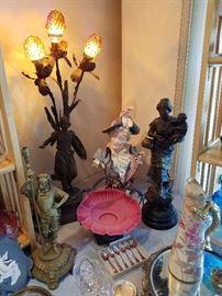"""Brunehilde"" Newel Post Lamp, Majolica Bust, Gas Lamp Base, Bride Basket, Woman and Child, Dragon Handle Pitcher"