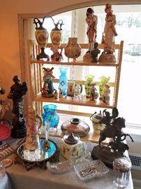 Ewers, Extra large Figurines, Dutchboy Majolica vase, Bristol Vases, Biscuit Jars, Ex nice Plateau, Horse and rider Figure, more