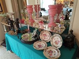 Large pair of Pink Victorian Lusters, Dresden Plates and Center Bowl, Enameled Satin Perfume, Venetian Candlesticks, most unusual Old Paris Figural Candle Holder, Spelter Figures