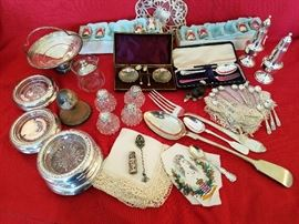 Sterling Salt Spoons, 800 Silver Stuffing Spoon and Meat Fork, ex small sterling overlay perfume, Sterling Salts and spoons in box, Cut shakers with sterling tops, Sterling Salt & Pepper, more