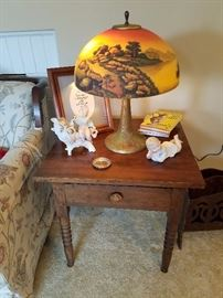 Great all original Lamp, One Drawer Stand