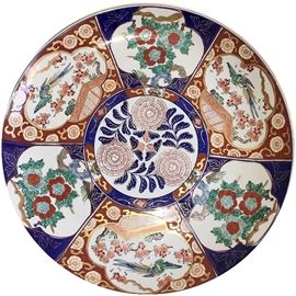 "18"" Imari charger in the darker Japanese tonalities, hand painted"
