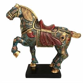 "Prototypical wood and polychrome Tang-style horse; 14"" tall"
