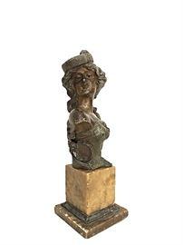 "Franz Iffland (1862 - 1935) rare bronzed spelter bust of gypsy Carmen; 11"""
