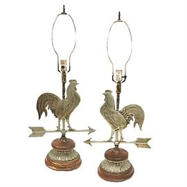 "Pair of vintage rooster weathervane lamps; 30"" tall from base to tops of finials; fine detail on feathers"