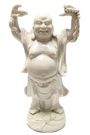 Blanc-de-chine happy Buddha holding pearls of wisdom